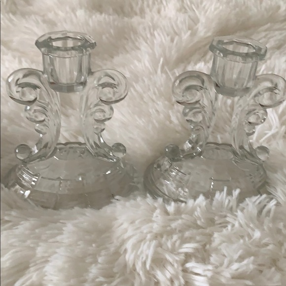 Set of 2 Vintage Indiana Glass Candle Holders